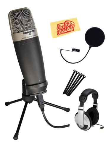 Samson C01U Usb Studio Condenser Microphone Bundle With Headphones, Pop Filter, Velcro Straps, And Polishing Cloth - Black