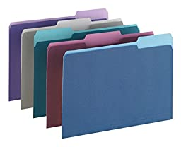 OfficeMax Colored File Folders, Letter, 1/3 Cut, Assorted-Jewel, 100/Box