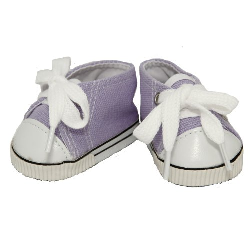 BUYS BY BELLA Purple Canvas Sneakers for 18 Inch Dolls Like American Girl - 1