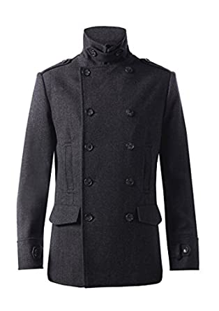 MENS CLASSIC GREY WOOL BLEND HERRINGBONE PEA COAT - SIZE S