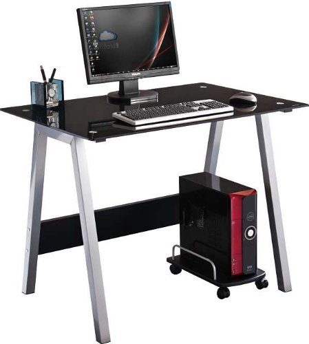 BLACK GLASS COMPUTER DESK by Piranha Trading Ltd with FREE EXPEDITED DELIVERY (PC7)