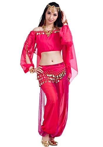AveryDance Gypsy Chiffon Tribal Belly Dance 3-Piece Cosplay Costume Set