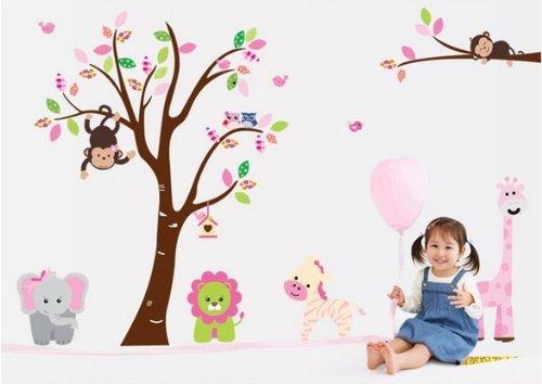 Mercurymall® Dschungel Wald Zoo mit Affen spielen auf Baum Wand Wandtattoo Wandaufkleber(Löwen, Giraffen, Zebras, Elefanten)