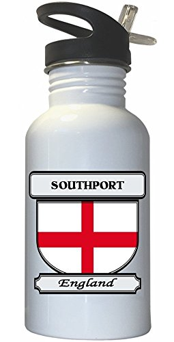 Southport, England City White Stainless Steel Water Bottle Straw Top