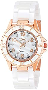 XOXO Women's XO2005 Swarovski Crystal Accented Rosegold-Tone White Ceramic Bracelet Dress Watch