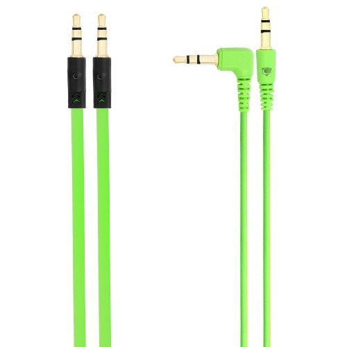 Chromo Inc. 2x Pack 3.5mm Auxiliary Cable 1 Angled and 1 Flat Audio Music Aux - Green