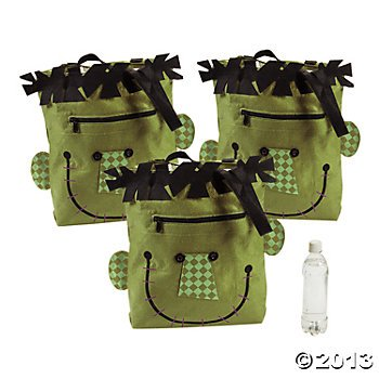 Halloween Face Tote/Classic Green Monster/Trick or Treat/Party Gift Bag/Prizes/Party Favors