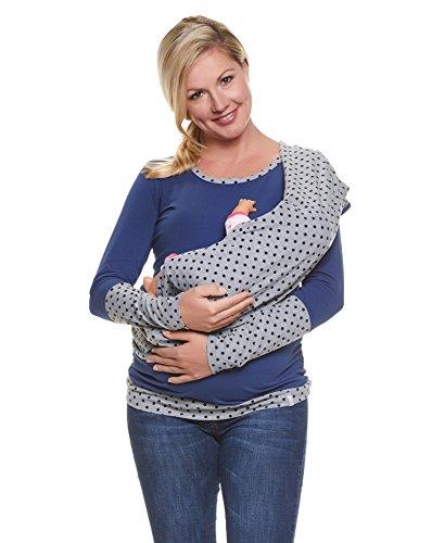 Be Mama! 3in1 Umstands-Shirt, Still-Shirt und Stillschal im Set: TEMI, langarm, blau-grau, SM