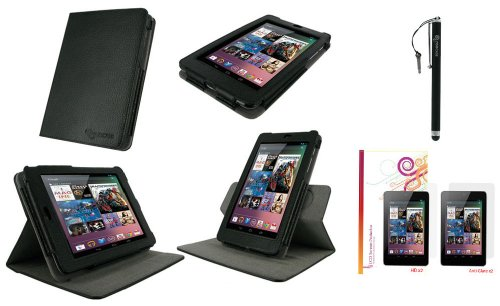 rooCASE Dual-View Multi Angle (Black) 100% Genuine Leather Folio Case Cover / Capacitive Stylus / 4-Pack x2 Anti-Glare and x2 HD Invisible Screen Protector Film for Google Nexus 7 Tablet (Automatically Wakes and Puts the Nexus 7 to Sleep)