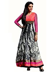 Glamouratic Designer Georgette Pink Embroidered Wedding Saree - B01785Y7H6