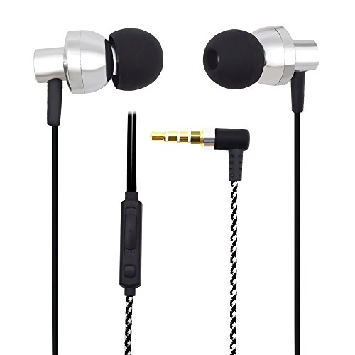 AIKAQI 密閉型 カナル型 イヤホン HD HIFI 有線 イヤホン マイク付き 音量調節 iPhone/Samsung galaxy/SONY 等スマートフォン対応 ヘッドセットS808 シルバー