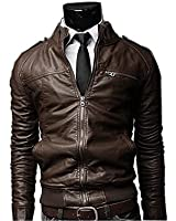 Amoin Men's Winter Slim Fit Stand Up Collar Faux Leather Jacket