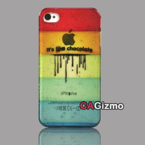 Cagizmo Raindrops Design Chocolate Pattern Stripe Plastic Cover Case for iPhone 4 / 4S (7537-2)
