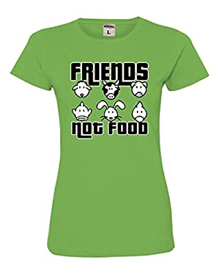Womens Friends Not Food Vegetarian Vegan Animal Lovers Deluxe Soft T-Shirt