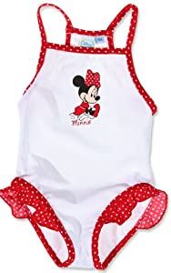 maillot de bain b b fille 1 pi ce minnie disney blanc rouge 12mois b b s pu riculture. Black Bedroom Furniture Sets. Home Design Ideas