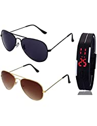 FULL BLACK AVIATOR SUNGLASSES AND GOLDEN BROWN AVIATOR SUNGLASSES WITH TPU BAND RED LED DIGITAL BLACK DIAL UNISEX...