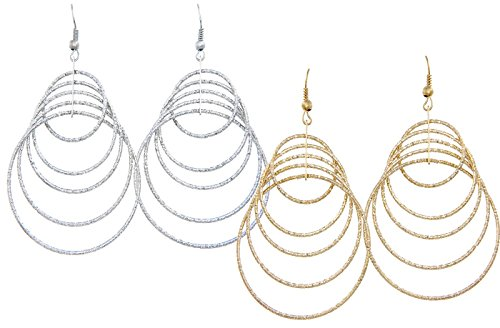Women Jewelry Plate in Silver And Gold Drop Dangle Earrings Set Diamond Cut 2 Pairs by Gold And Luster (Old Navy Rock Star compare prices)