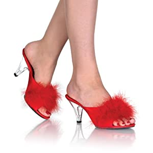 Romantic Elegant 3 Inch Sexy Mid Heel Shoes Fur Shoes Black White Red Baby Pink