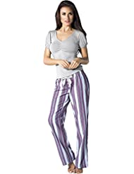 56596ef1d Adriana Arango Women s Pajama Set Short Sleeve 100% Cotton Stripe Pants