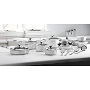 Mainstays Stainless Steel 18-Piece Cookware Set