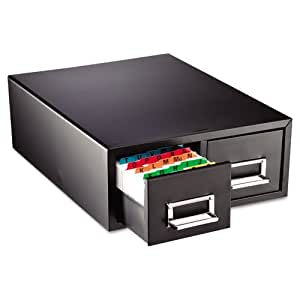 STEELMASTER Small Double Card File Drawer, Fits 3 x 5 Cards, 3000 Card Capacity, 12.31 x 5.19 x 16 Inches, Black (263F3516DBLA)