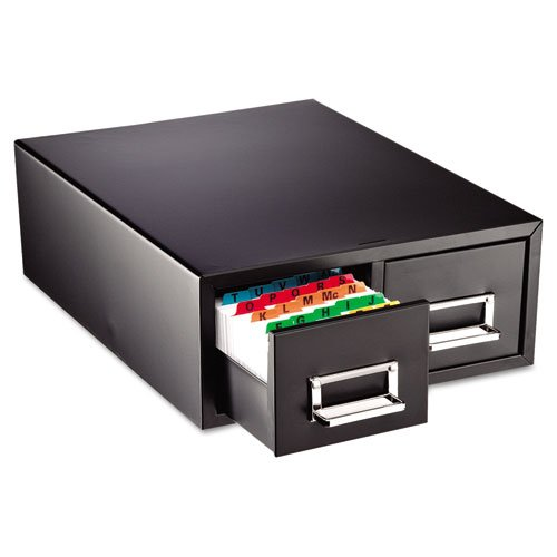 MMF Steelmaster Small Double Card File Drawer, Fits 3 x 5 Cards, 3000 Card Capacity, 12.31 x 5.19 x 16-Inch, Black (263F3516DBLA)