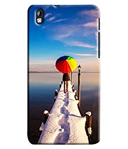 Blue Throat Girl With Umbrella Hard Plastic Printed Back Cover/Case For HTC Desire 816