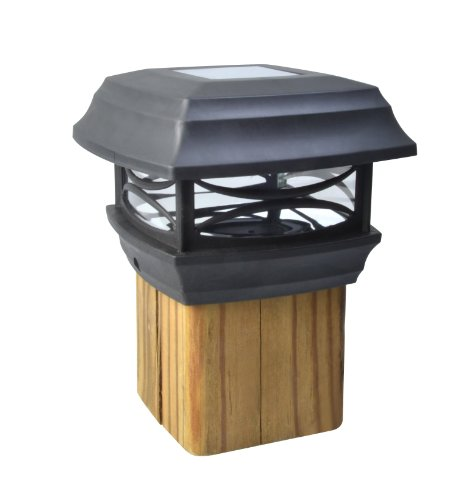 solar powered led post cap light for 4x4 posts black black plastic cap. Black Bedroom Furniture Sets. Home Design Ideas