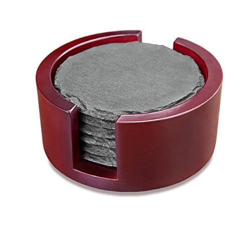 Artaste 28515 Slate Coasters Round, Set of 6 with Solid Wood Holder