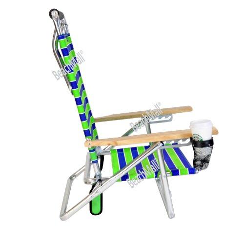 Canopy Beach Chair 5 Pos Lay Flat Low Seat Aluminum