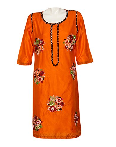 Kocktail-Kurta With Colourful Sequins Work On Silk (Multicolor)