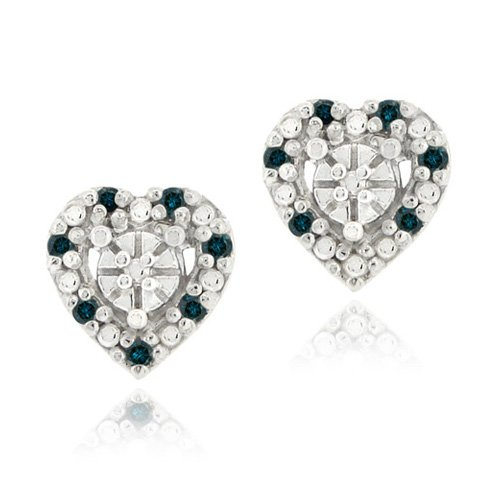 Sterling Silver 1/8ct. TDW Blue Diamond Heart Stud Earrings