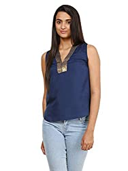 Mayra Women's Crepe Top (1604T09380_XL Navy Blue )
