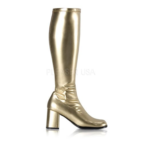FUNTASMA by Pleaser Gogo-300 Womens Halloween Costume Sixties Dancer Disco Boots Shoes Gold