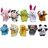 Careshine 10PCS Animals Finger Puppet Toy Plush Toys Kids Toy Elephant, Rabbit, Duck, Cow, Dog, Panda, Bear, Mouse, Frog, Hippos