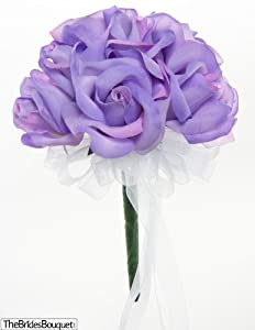 Lavender Silk Rose Toss Bouquet - Bridal Wedding Bouquet