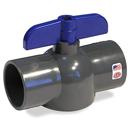 King Brothers Inc. EBVG-1000-S 1-Inch Slip PVC Schedule 80 Economy Ball Valve, Gray (Schedule 80 Pvc Ball Valve compare prices)