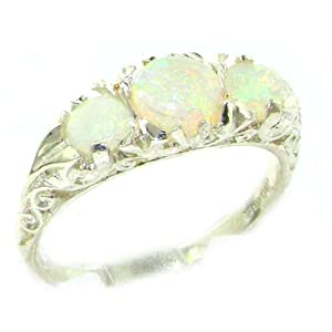 9ct White Gold Ladies Fiery Opal Eternity Ring - Ideal gift for for Christmas, Birthday, Valentines or Mothers Day