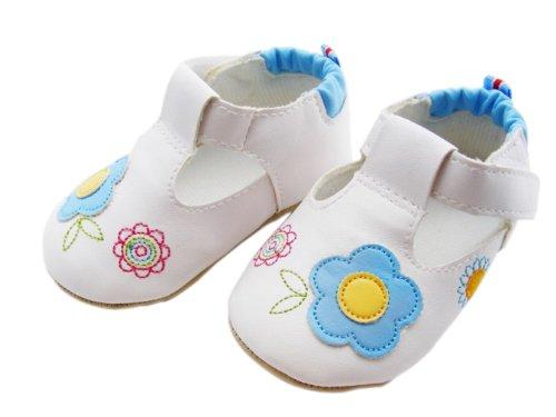 C-Princess人造革PUレザー 赤ちゃん ベビーシューズ ファーストシューズ ホワイト フラワー お花飾り ベルクロ 出産お祝いプレゼントにも 女の子 (12CM, ブルー)