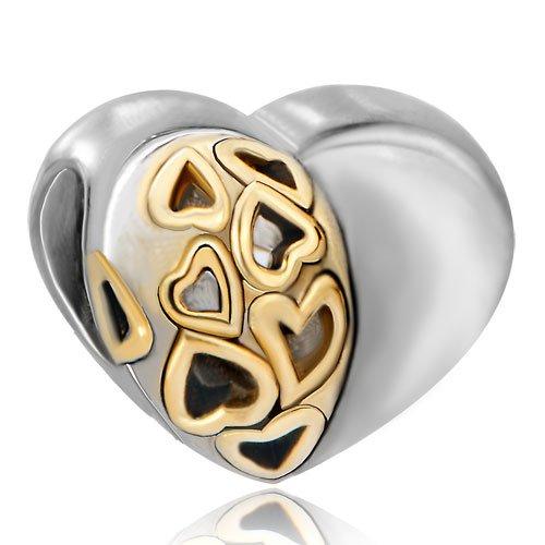Pugster Heart Metal Lover Bead Gift Fits Pandora Chamilia Biagi Charm Bracelet