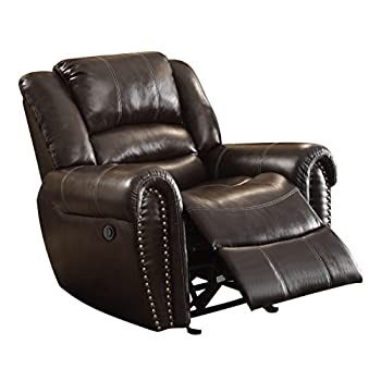 Homelegance 9668BRW-1PW Power RecliningBonded Leather TraditionalChair with Accentuated Nail Headed Arm Rest, Brown