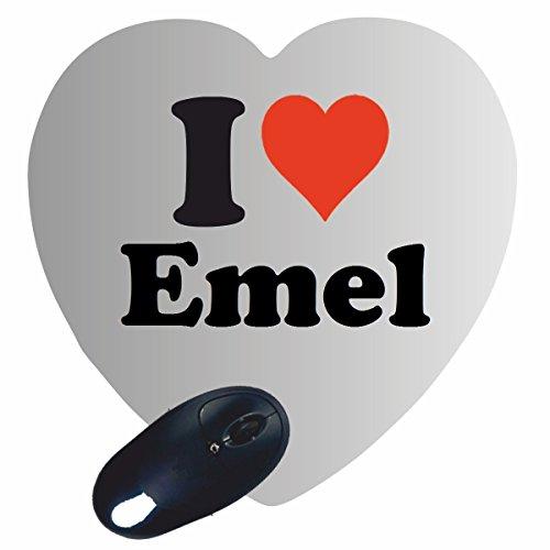 """Regali Esclusivi: Cuore Tappetini per il Mouse """"I Love Emel"""", un Grande regalo viene dal Cuore - Ti amo - Mouse Pad - Antisdrucciolevole - Punte di Natale"""