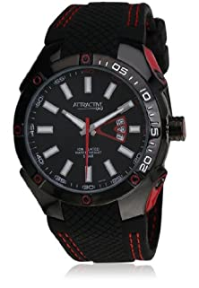 buy Q And Q Attractive Ion Plated Men Watch Black & Red Case With Silicon Band