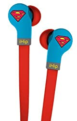 iHip DCF-DJZ-SU DC Comics Superman Printed Logo Flat Cord Series with Built-In Microphone and Volume Control