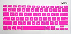 Yashi Laptop Keyboard Protector Cover Dark Pink - Silicone Rubber for Apple MacBook 13.3 AIR with model no. A1369 & A1466