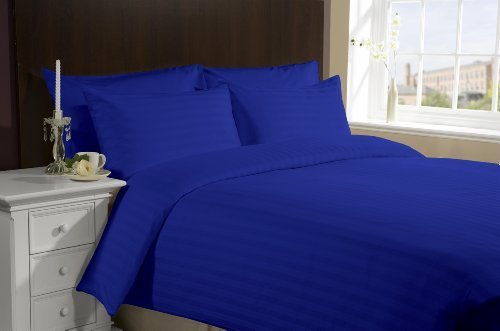 "650 Tc Egyptian Cotton Bed Sheets 4 Piece Set 22"" Deep Pocket Queen Egyptian Blue Stripe back-1018759"