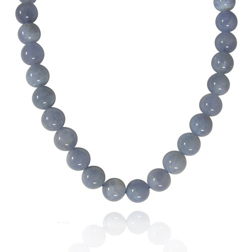 8mm Plain Round Blue Chalcedony Bead Necklace, 30+2