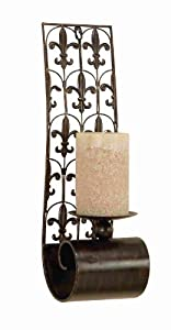 Large Tuscan Old World Metal Fleur De Lis Candle Wall Sconce Set of 2