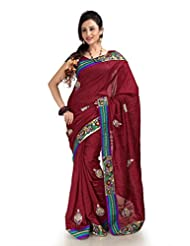 Designersareez Women Bhagalpuri Silk Embroidered Maroon Saree With Unstitched Blouse(1155)