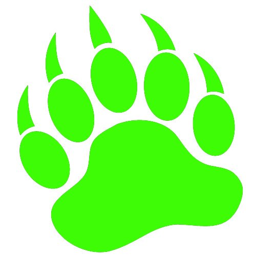 GRIZZLY BEAR PAW PRINT   Vinyl Decal Sticker 5 LIME GREEN